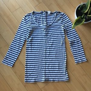 J. Crew striped navy black 3/4 sleeve shirt top